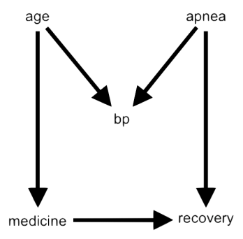 DAG of causal relations between age, bp, apnea, medicine, and recovery